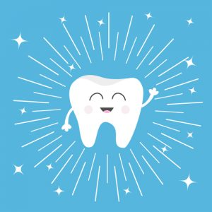 smiling cartoon tooth on blue background with shooting stars